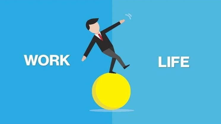 work-life balance. This is the header image for the blog. It is a graphic of a man balancing on a yellow ball. On the left side is the work Work. On the right is the word Life.