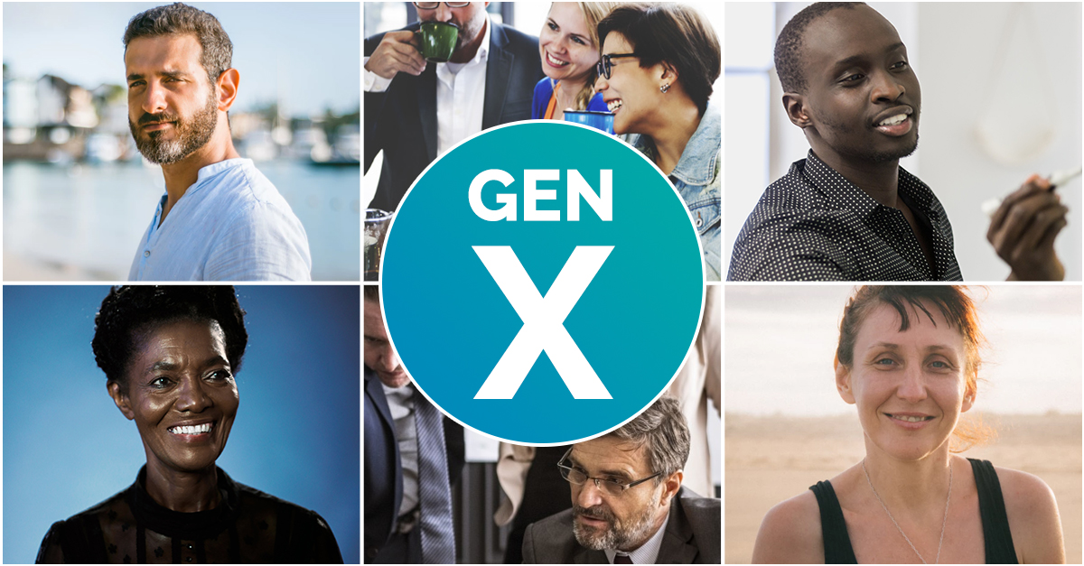 Generation X. Workplace Wellness. An iage of 6 people aged between 35-59 with the words Gen X in the middle in a blue circle